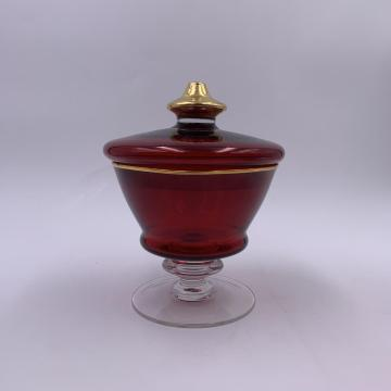 2020 Wholesale round red glass jar with lid