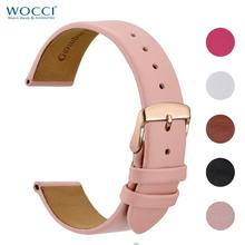 WOCCI 14mm 16mm 18mm 20mm Genuine Leather Watch Band Bracelet for Ladies with Stainless Steel Buckle Replacement Strap