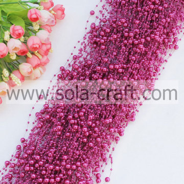 Pink Color Plastic Pearl Garland with 3+8MM for Christmas tree Decoration