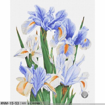 Blue iris art modern painting mosaic tiles
