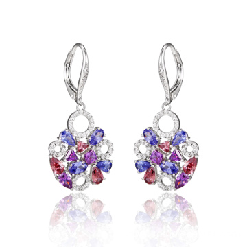Elegant Fashion Round Earrings with Colorful CZ