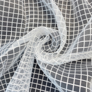 White Grid Jacquard Organza Tulle Fabric for Dress