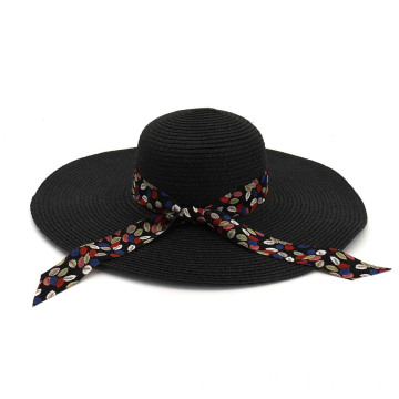 Silk cloth design with bowtie summer straw hat