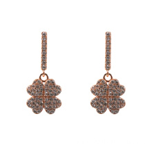 Rose Gold Four Leaf Clover Dangle Earrings
