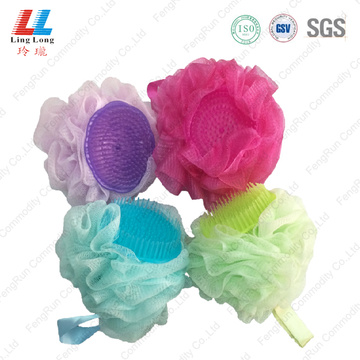 massage mesh bath sponge body scrub with brush