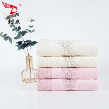 soft velvet lace  gold applique bath towel