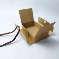 One-piece folding kraft paper box with ribbon