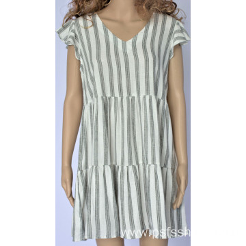 Women Striped V Neck Dress