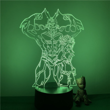 3D LED Night Light My Hero Academia All Might Strong And Weak Anime Figure 7 Colors Touch Optical Illusion Lamp Bedroom Kids Gif