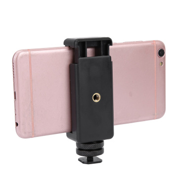 Portable 1/4 Screw Flash Hot Shoe Adapter Tripod Mount Fixed Phone Clip Holder With Rubber Pad For DSLR Camera Accessory