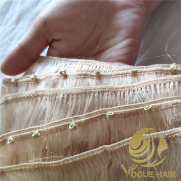 Custom machine weft hair with beads