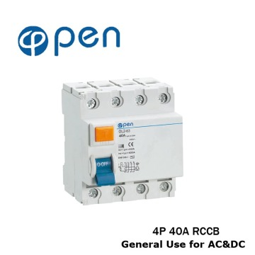 4P 40A A Type for DC&AC Use Residual Current Circuit Breaker RCCB OL2-63 Series for Overload and Short Circuit Protection