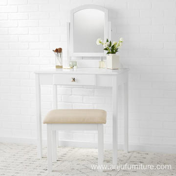 Small White Vanity Set with Stool