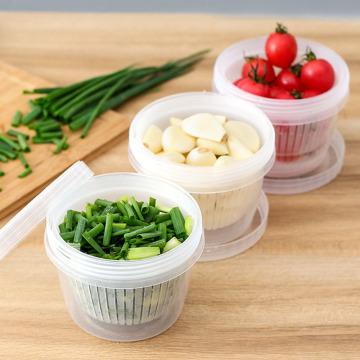 Fresh Box Household Portable Round Plastic Box Transparent Drain Fresh Bowl Refrigerator Sealed Ginger Garlic Onion Storage Box