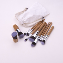 Wood handle makeup brush set with cloth bag