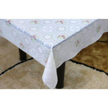 Printed pvc lace tablecloth by roll plastic