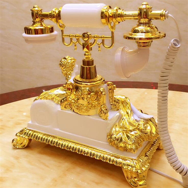 Vintage Golden Sleeping Lady Landline Phone, Corded Retro Telephone with Button Dial, Caller ID, Calendar, Hands-free for Home