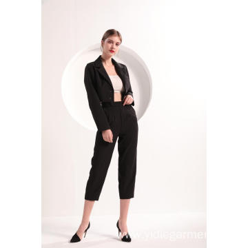 Ladies' Black Color Cropped Blazer and Trousers