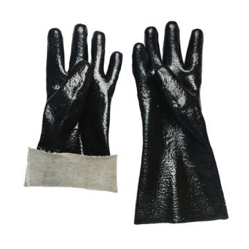 Black pvc dipped gloves rough finish interlock lined