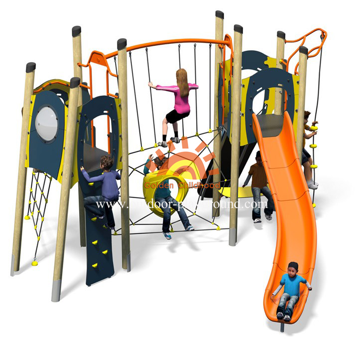 outdoor plastic climbing slide playground structure