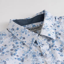 Men's Short Sleeve Blue Flowers Print Casual Shirts