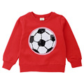 spring baby girl sequins football soccer embroidery