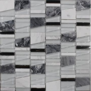 Irregular Chip Glass Marble Mixed Mosaic Tile