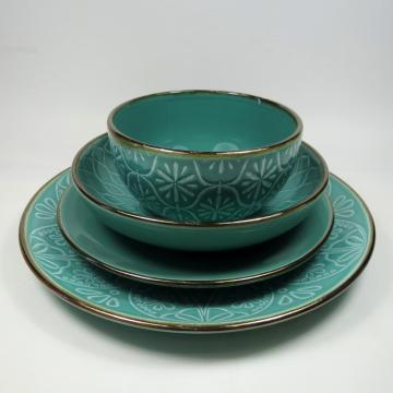 Color Glaze Stone Ware Dinnerset With Golden Rim