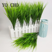 YO CHO Artificial Plants 7-fork Green Imitation Plastic Artificial Grass Leaves for Garden Outdoor Decoration Fake Clover Plants