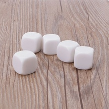 5pcs 20mm White Blank Acrylic Dice Kid DIY Write Painting Graffiti Family Games Multi Sides Dice for Board Game