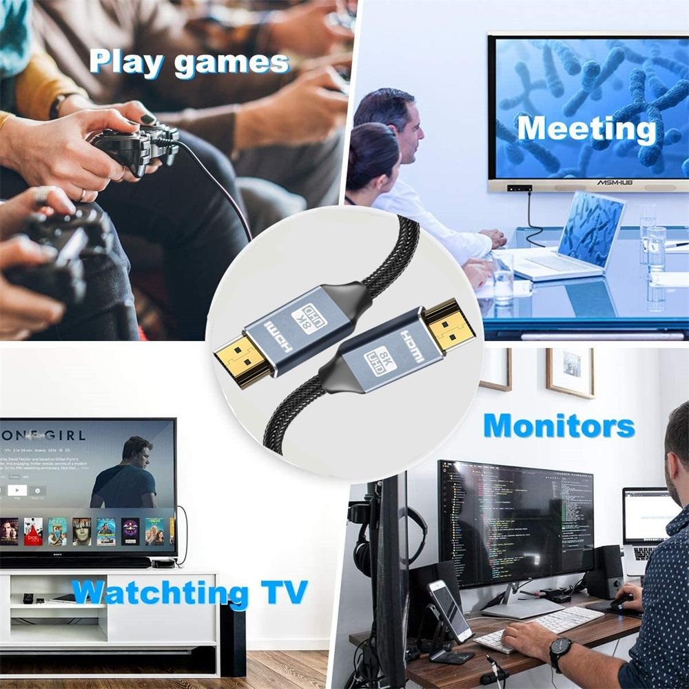 HDMI-compatible Cable 8K@60Hz 4K@120Hz 2K@144Hz HDMI-compatible 2.1/2.0 Cable Splitter Switch Cable for PS4 PS5 TV Video Cable