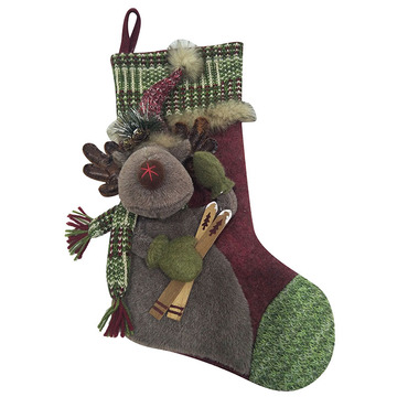 3D reindeer Christmas stocking
