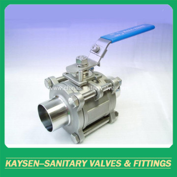 3A/DIN Sanitary ball valves welding 3PC non-rentention