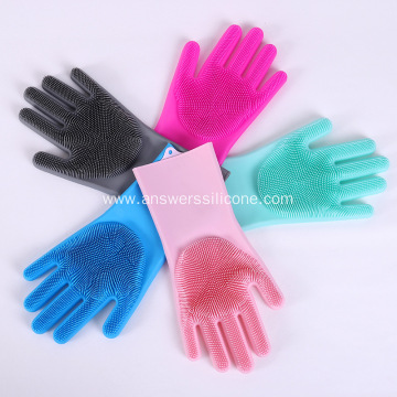 Long sleeve dishwashing silicone household hand gloves