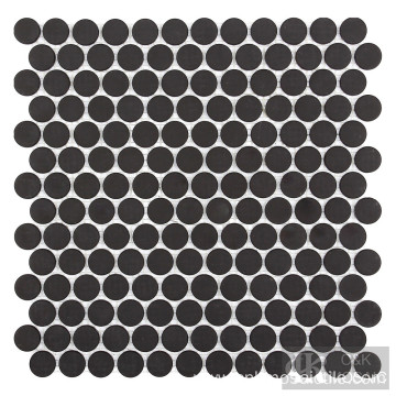 Black Matte Penny Round Solid Color Mosaic