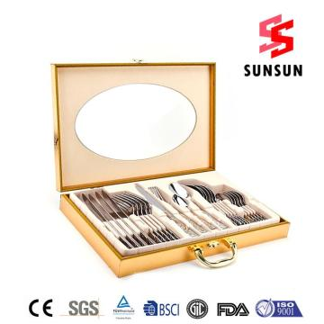 24pcs Stainless Steel Cutlery Set Wooden Box