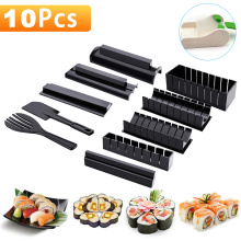 10pcs/set Sushi Maker Multifunctional Rice Roll Mold Making Sushi Tool with Gloves Japanese Rice Ball Cake Roll Mold Rice Mould