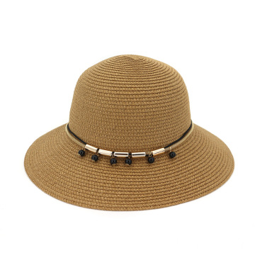 Metal decoration premium summer beach straw hat