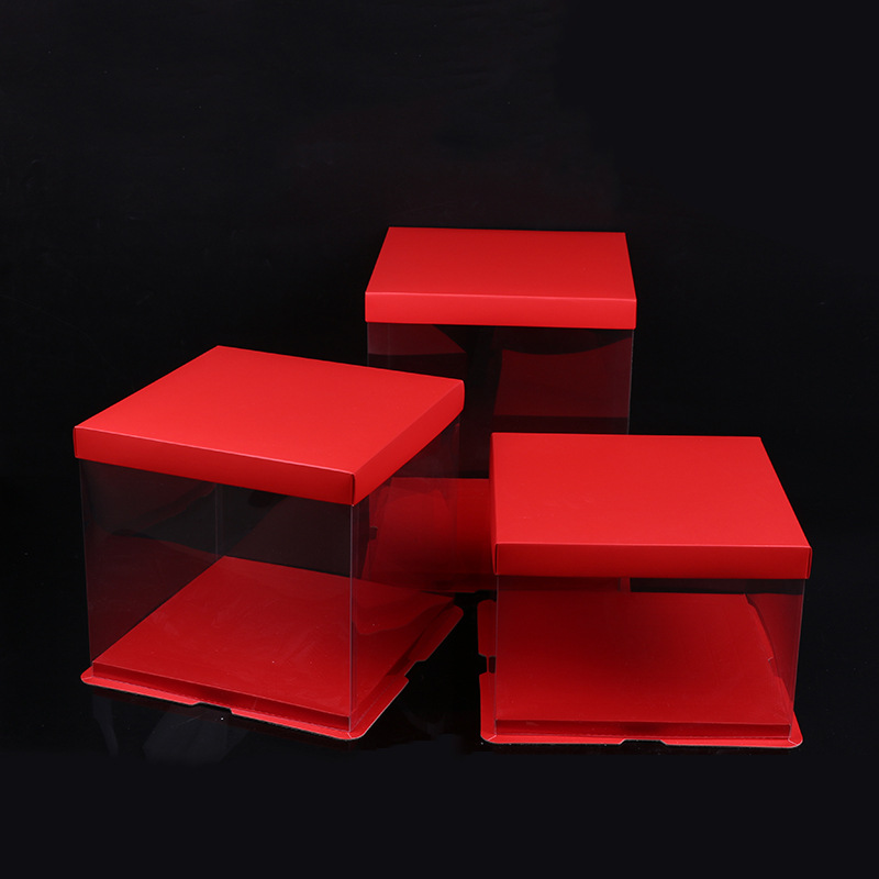 Red clear plastic cake box