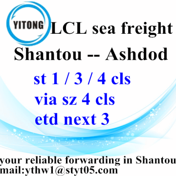 LCL Shipping Forwarder from Shantou to Ashdod