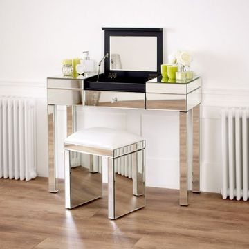 Venetian Mirrored 1 Drawer Dressing Table Set & Mirrored Black Stool