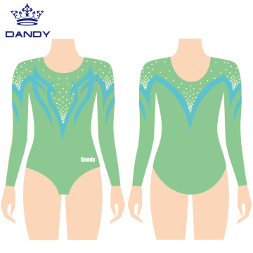 Customized multicolored metallic gymnastics leotards