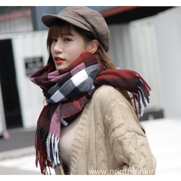 winter warm custom cashmere pashmina check scarf