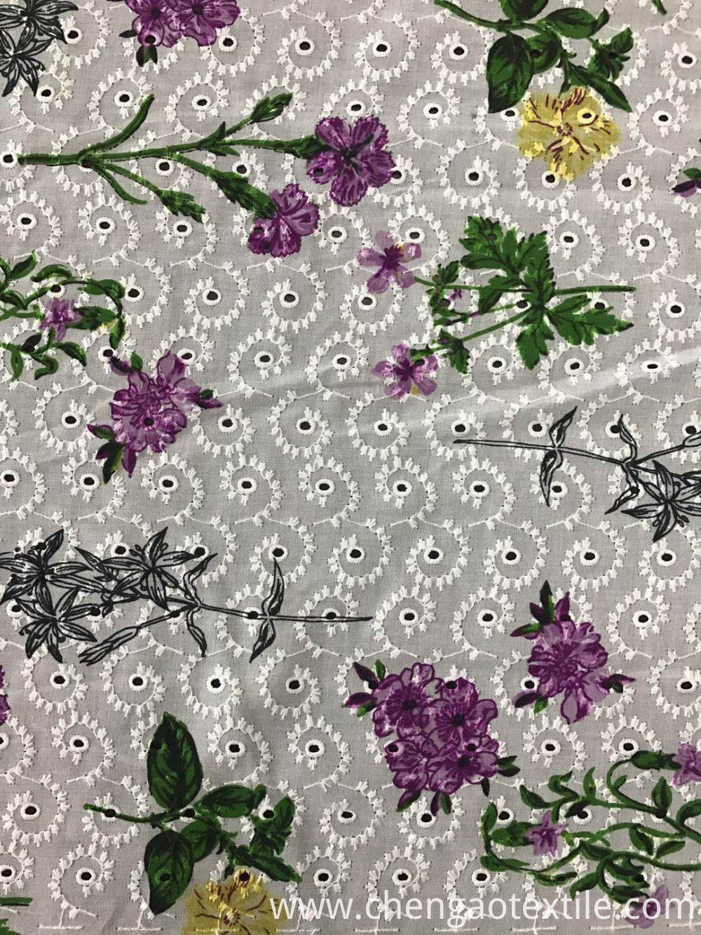 Branchlets and digital printing Cotton embroider fabric
