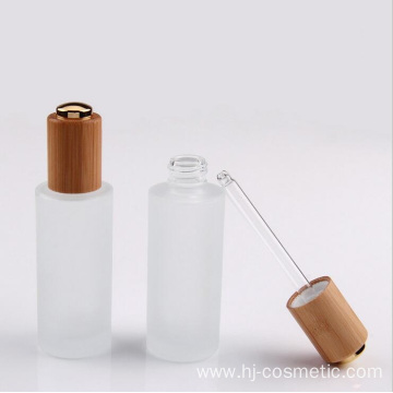 30g dropper bottle wholesale cosmetic containers face cream frosted clear glass Jar with bamboo lid