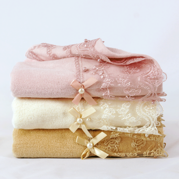 lace and bowknot velvet towel