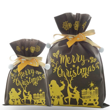 Brown Santa Claus Deer Christmas Drawstring Gift Bags