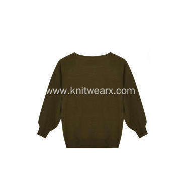 Women's Knitted Crystal Beads Crew-Neck Pullover