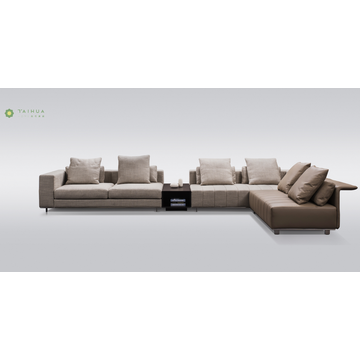 Light Color Fabric And Leather Corner Sofa