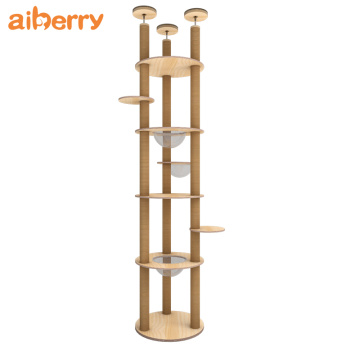 Modern Solid Wooden Unique Cat Tower Tree
